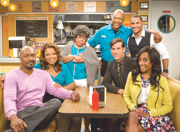 """Cast of Tyler Perry's """"Love Thy Neighbor"""" (l-to-r) Tony Grant, Kendra C. Johnson, Patrice Lovely, Palmer Williams, Andre Hall, Jonathan Chase and Darmirra Brunson. (courtesy photo)"""