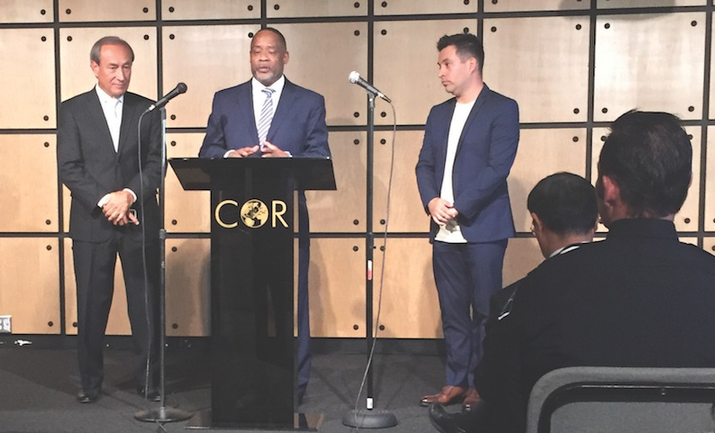 From left are Bishop Abel F. Aguilar, Pastor Mark Whitlock and Pastor Jason Aguilar at the unity forum at Christ Our Redeemer AME Church on July 14.