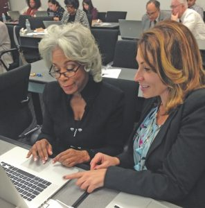 Indexing for the Freedmen's Bureau Project are Pepperdine Graduate School Dean Helen Easterling Williams (left) and Autumn Luscinski, Assistant Dean of Faculty and Staff Development. (photo by Phani Alluri)