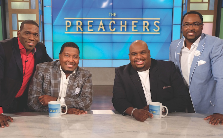 """From left are Pastors Jamal Bryant, E. DeweySmith,Jr., John Gray and Orrick Quick are the co-hosts of """"The Preachers"""" talk show on the FOX network. (photo by Darren Michaels/Warner Bros. Television)"""