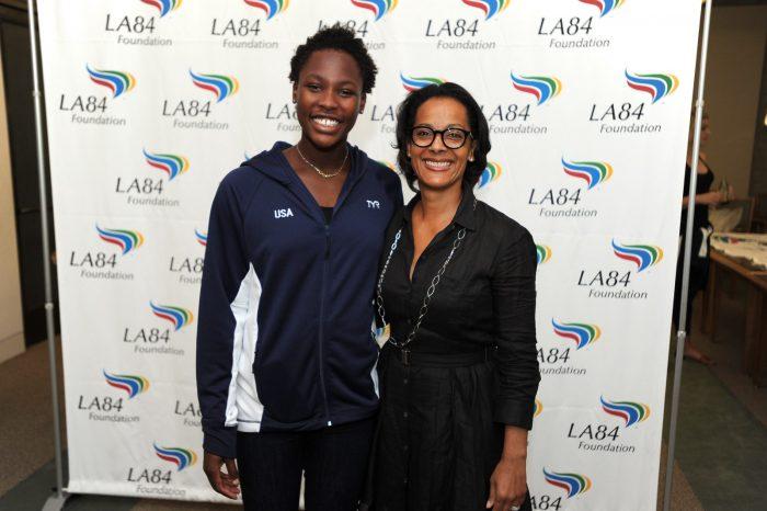 Simril with Ashleigh Johnson, Team USA goalie and the first African American woman to play for USA Water Polo. (Jon SooHoo/LA84)