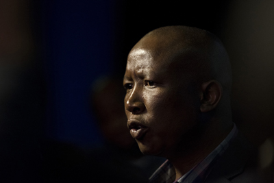Leader of the Economic Freedom Fighters Julius Malema, during an interview at the election results center in Pretoria, South Africa, Friday, Aug. 5, 2016. With 95 percent of votes counted the ruling ANC appears to have suffered its biggest electoral blow since it won power at the end of the apartheid era 22-years ago, and the results remain too close to call in the country's two largest cities.(AP Photo/Herman Verwey)