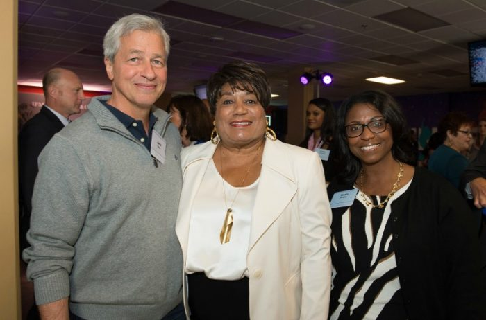 Jamie Dimon, Faye Washington (CEO YWCA Greater Los Angeles) and Diedra Porche (Chase Market Manager for Business Banking in Los Angeles)