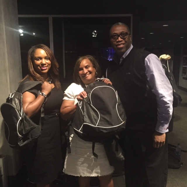 Myeisha Peguero Gamino (head of Chase philanthropy in Southern California), Charisse Bremond Weaver (CEO Brotherhood Crusade)and Antonio Manning (head of philanthropy in Los Angeles)