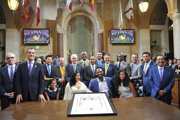 Retired L.A. Laker Kobe Bryant is joined by the Los Angeles City Council and his family August 24, to celebrate what will now be known as Kobe Bryant day in the city.  PHOTO BY VALERIE GOODLOE
