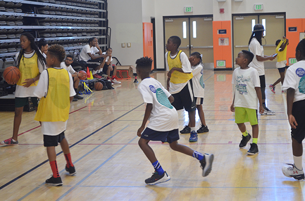 After drills, the students participated in co-ed scrimmages (Amanda Scurlock/ L.A. Sentinel)
