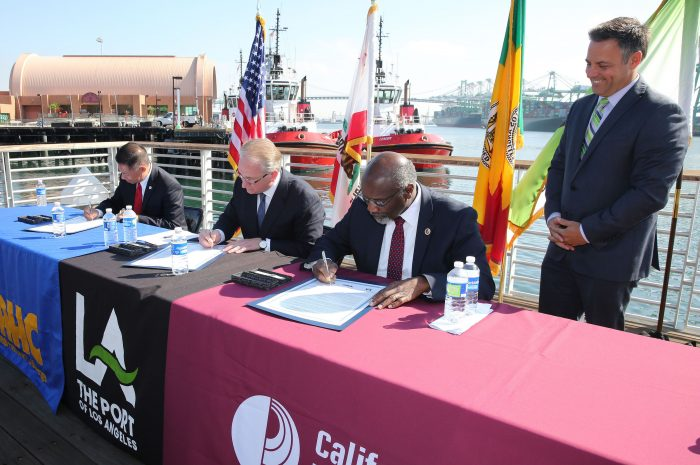 Partners sign the Memorandum of Understanding, providing for a global logistics curricula at both the CSUDH and L.A. Harbor College campuses. (courtesy photo)