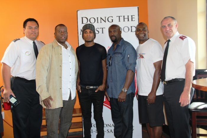 "(L-R) Anthony Begonia, Director Entertainment Salvation Army, Kashif, singer/songwriter/producer, Joshua Ledet,singer, American Idol finalist, Ro Brooks - actor, Tyler Perry's ""The Haves and the Have Nots"", Norwood J. Clark, CEO/President of Uncle Darrow's Inc. & ReUnite America and Lt. Col Kyle Smith. Photo credit: Donna Dymally Photography"