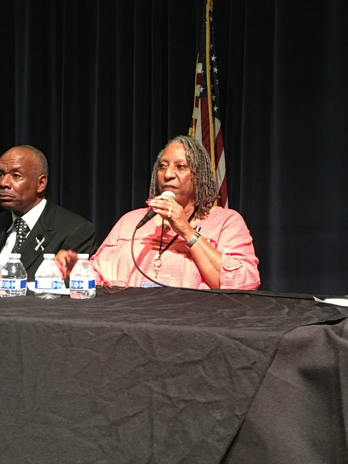 Bernita Walker of LAPD/Victim Advocates' Domestic Abuse Response Team (D.A.R.T.) at the Off-Ramps Town Hall Meeting on Domestic Violence July 28 at Peck Park in San Pedro. (courtesy photo)