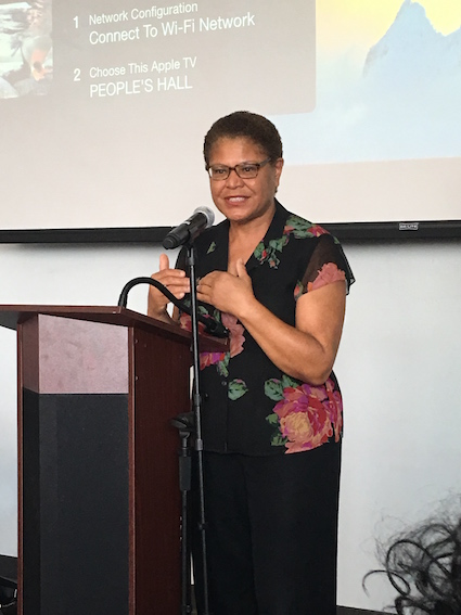 U.S. Congresswoman Karen Bass addressed audience at the Community Coalition's July 30 town hall on gun violence. (Photo by Charlene Muhammad)