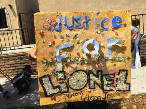 Creative poster demanding Justice for Lionel Gibson, Jr. (Photo by Charlene Muhammad)
