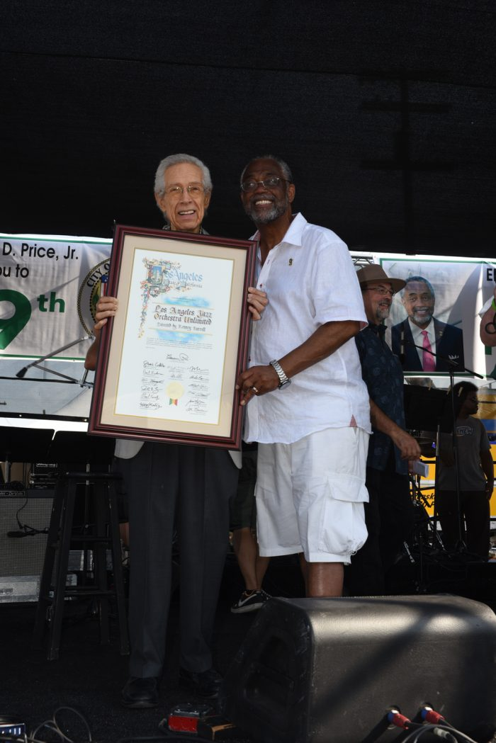 Jazz Guitarist Kenny Burrell and Councilman Curren Price (Photo by Ian Foxx)