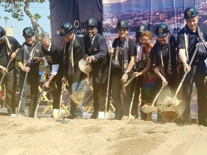On Aug. 23, the Los Angeles Football Club (LAFC) along with Councilman Curren D. Price, Jr. and Congressmember Karen Bass (CA-37) broke ground on a world-class, 22,000-seat stadium at Exposition Park set to open in time for the 2018 Major League Soccer season. The economic development project also includes a sports museum, shops and restaurants. (Courtesy Photo)