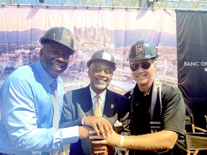 (L-R) LAFC co-owner Magic Johnson, Councilman Curren Price. Jr. and LAFC co-owner Will Ferrell (Courtesy Photo)