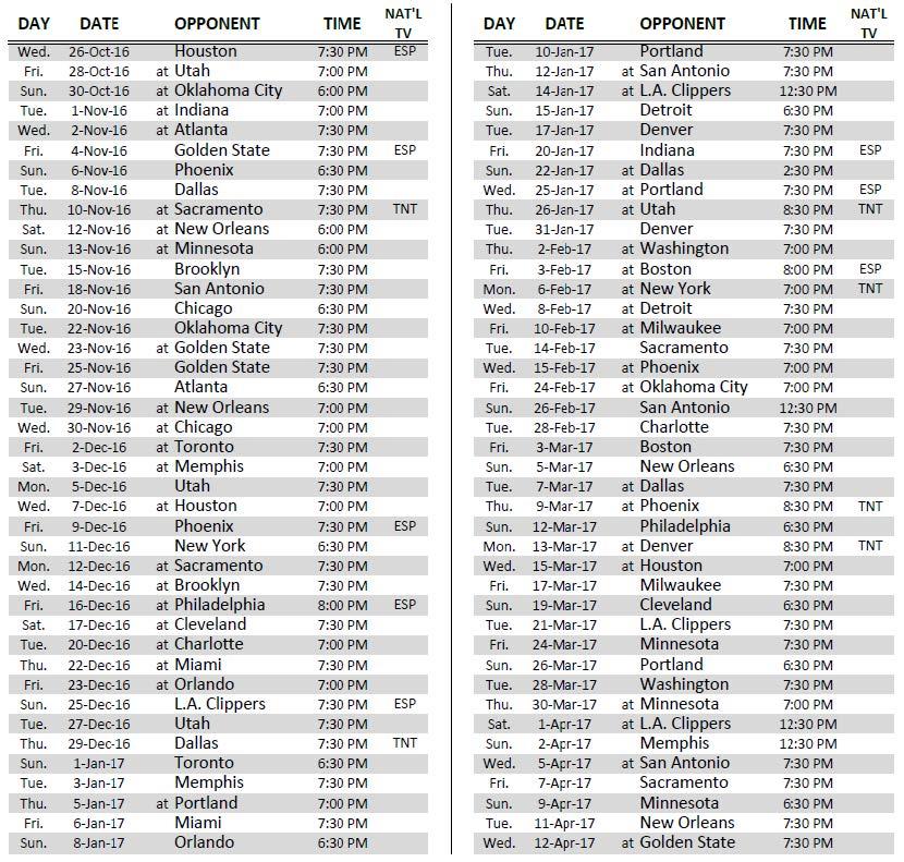 lakers announce 2016 17 regular season schedule los angeles