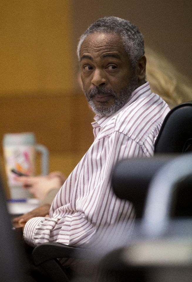 Martin Blackwell watches arguments in his trial in Atlanta, Wednesday, Aug. 24, 2016. Blackwell is accused of pouring hot water on two gay men as they slept. (AP Photo/John Bazemore)