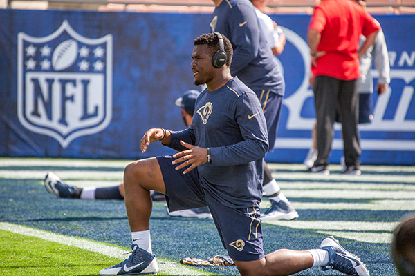Rams running back Malcolm Brown prepares for second preseason game (L.A. Sentinel/ Robert Torrence)