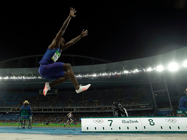 United States' Jeff Henderson competes in the men's long jump final during the athletics competitions of the 2016 Summer Olympics at the Olympic stadium in Rio de Janeiro, Brazil, Saturday, Aug. 13, 2016. (AP Photo/Matt Dunham)AP
