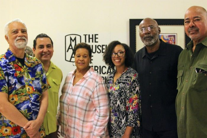 (L-to-R) Playwrights Kurt Dana Maxey and Oscar Arguello, President of the Museum Of African American Art, Berlinda Fontenot-Jamerson; Playwrights Julie Taiwo Oni and Melvin Ishmael Johnson; Co-Founder and Producing Artistic Director of the Robey Theatre, Ben Guillory. (LA Sentinel/ Zon D'Amour)