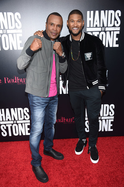 "(left) Singer Usher Raymond as legendary boxer, Sugar Ray Leonard (right) in the highly anticipated film, ""Hands Of Stone"