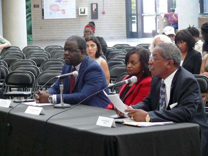 (Left-to-Right) Panel 1: Alex Johnson (Children's Defense Fund-Freedom Schools, Dr. Ramona E. Bishop (CAAASA) and Dr. Earl Perkins (LAUSD) presented issues to the Assembly Select Committee. Photos by Brian W. Carter