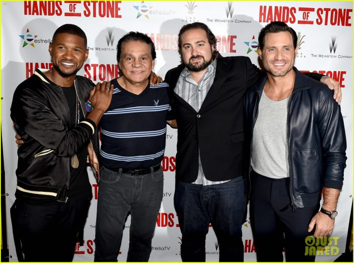 "(L-R) Actor/singer Usher Raymond, former professional boxer Roberto Duran, director Jonathan Jakubowicz and actor Edgar Ramirez arrive at a screening of the Weinstein Company's ""Hands of Stone"" at the Pacific Theatres at The Grove on August 15, 2015 in Los Angeles, California.  (Photo by Kevin Winter/Getty Images)"