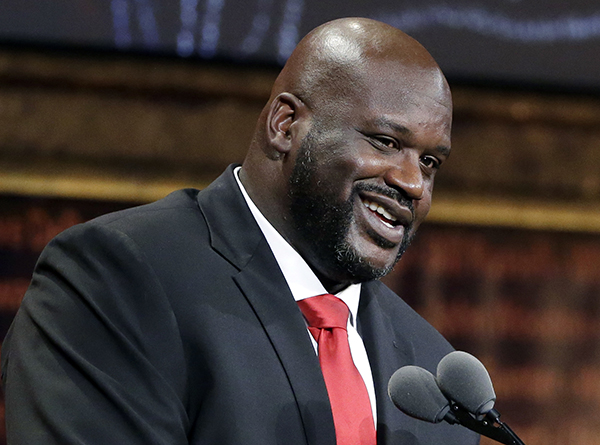 Basketball Hall of Fame inductee Shaquille O'Neal speaks during induction ceremonies at Symphony Hall, Friday, Sept. 9, 2016, in Springfield, Mass. (AP Photo/Elise Amendola)