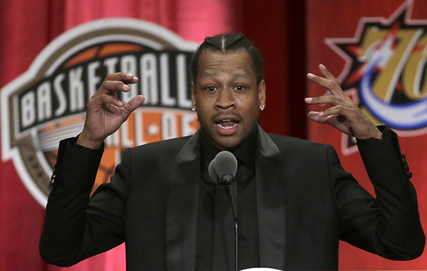 Basketball Hall of Fame inductee Allen Iverson speaks during induction ceremonies at Symphony Hall, Friday, Sept. 9, 2016, in Springfield, Mass. (AP Photo/Elise Amendola)