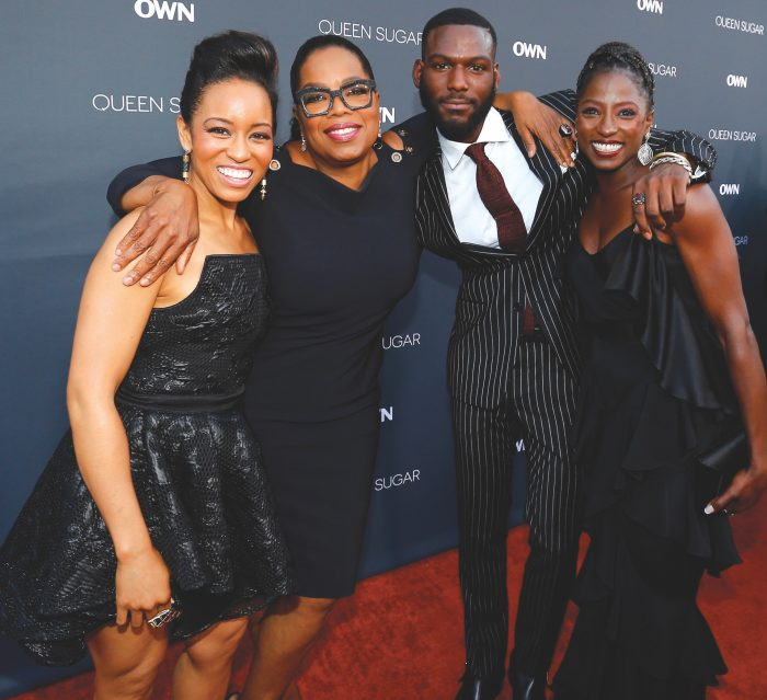 BURBANK, CA - AUGUST 29: (L-R) Actress Dawn-Lyen Gardner, executive producer Oprah Winfrey and actors Kofi Siriboe and Rutina Wesley attend OWN: Oprah Winfrey Network's Queen Sugar premiere at the Warner Bros. Studio Lot Steven J. Ross Theater on August 29, 2016 in Burbank, California. (Photo by Mark Davis/WireImage)