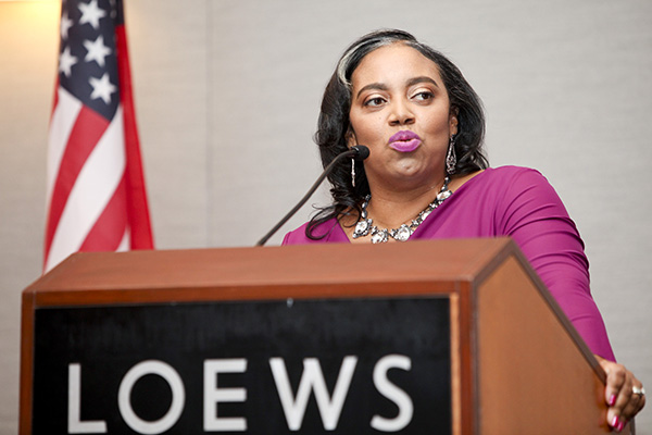 Amber Finch speaking at the Black Women Lawyers Association of Los Angeles, Inc.'s 41st Installation and Awards Dinner (courtesy of Black Women Lawyers)