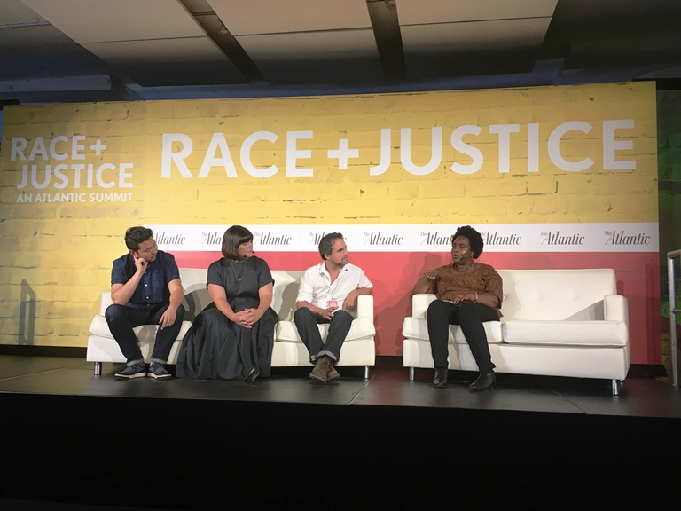 (Left- to- Right): Directors Andrew Ahn, Amanda Marsalis, and Alex Rivera talk with Moira Griffin, senior manager of diversity initiatives at Sundance Institute, about race in Hollywood.