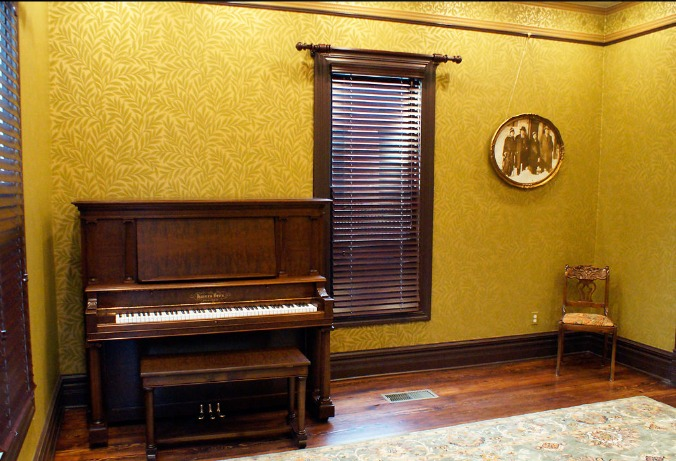 """J.W. """"Blind"""" Boone played his ragtime music on this practice piano, a 1904 Haines Brothers model.  (Photo by Allison Collins / Colombia Missourian News)"""