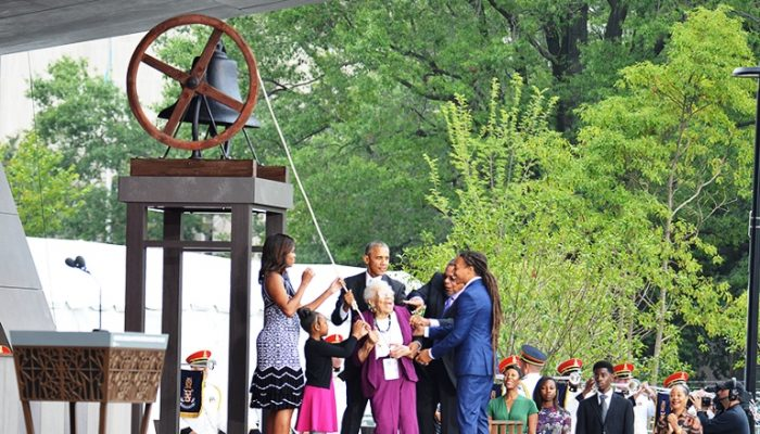 Members of the Bonner family join Firs Lady Michelle Obama (left) and President Barack Obama (3rd from the left) to ring the freedom bell from the First Baptist Church of Williamsburg, which was founded in 1776 and is one of the country's oldest Black churches. (Freddie Allen/AMG/NNPA)