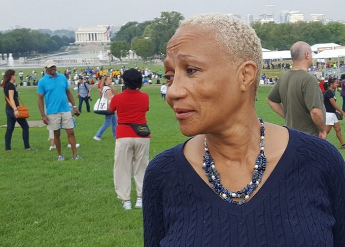 Carolyn Tillery of Arlington, Va., cried when she saw the National Museum of African American History and Culture on Sept. 24 before the grand opening ceremonies at the National Mall in Washington D.C. (William J. Ford/The Washington Informer)