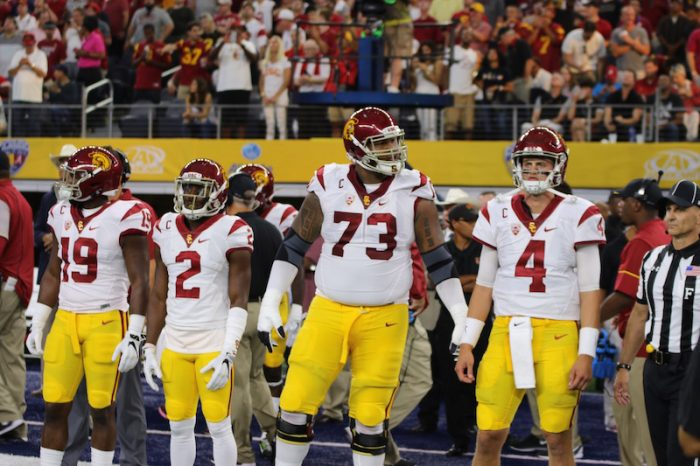 USC Captains - L to R: LB Michael Hutchings, CB Adoree' Jackson, OT Zach Banner, and QB Max Browne.   Photo:  Gregory Redding