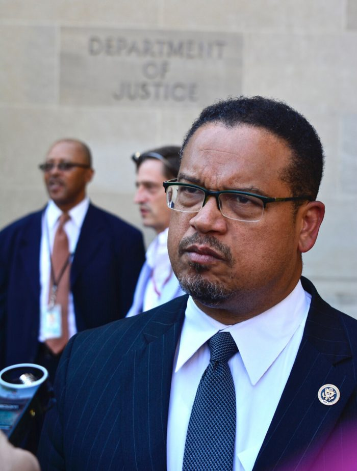 Rep. Keith Ellison (D-Minnesota) speaks to reporters after a news conference Sept. 22 outside the Justice Department in Northwest D.C. Ellison and members of the Congressional Black Caucus held a news conference there for Attorney General Loretta Lynch to investigate the killings of unarmed Blacks by law enforcement. (Travis Riddick/Washington Informer)