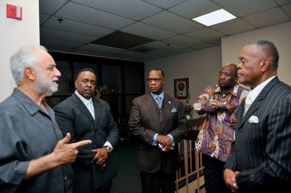 Organizers of the United Hood Nations/10,000 fearless town hall meet to discuss solutions to stop the killings in community neighborhood on September 15, 2016 at Holman United Methodist Church. (L-R) Danny J. Bakewell, Sr., Khalid Shah, Minister Tony Muhammad, Rev. Kelvin Sauls and Naim Shah  (Photo by Valerie Goodloe)