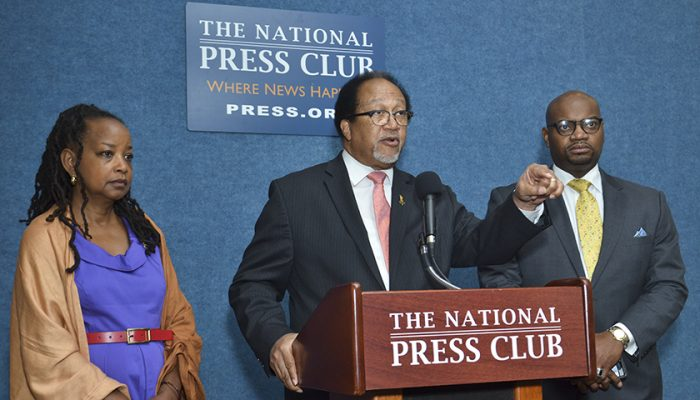Dr. Benjamin F. Chavis, Jr. (center), president and CEO of the NNPA, speaks during a press conference on police brutality and police misconduct in the Black community joined by Denise Rolark Barnes (left), the chairwoman of the NNPA and publisher of The Washington Informer, Bernal E. Smith II, a member of the NNPA Board of Directors and publisher of The New Tri-State Defender. (Freddie Allen/AMG/NNPA)