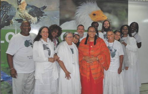 Mataji, fourth from left, and members of the Eagle Wings of Enlightenment Center.