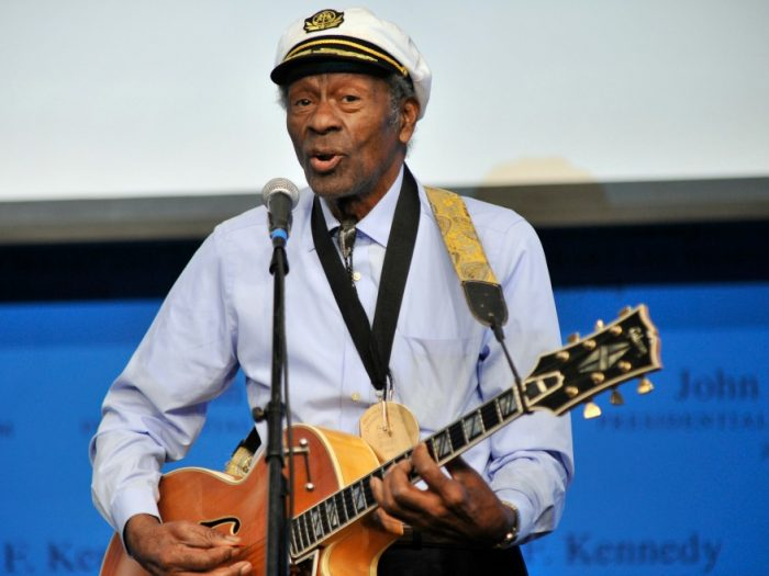"In this Feb. 26, 2012 file photo, rock 'n' roll legend Chuck Berry performs ""Johnny B. Goode"" at the John F. Kennedy Presidential Library and Museum in Boston. (AP Photo/Josh Reynolds)"