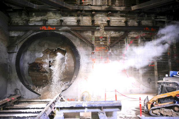 """""""Harriet"""", Metro's tunnel boring machine named after the abolitionist and leader of the Underground Railroad, Harriet Tubman breaks through Leimert Park underground station Thursday October 20, 2016. (Photo by Valerie Goodloe)"""
