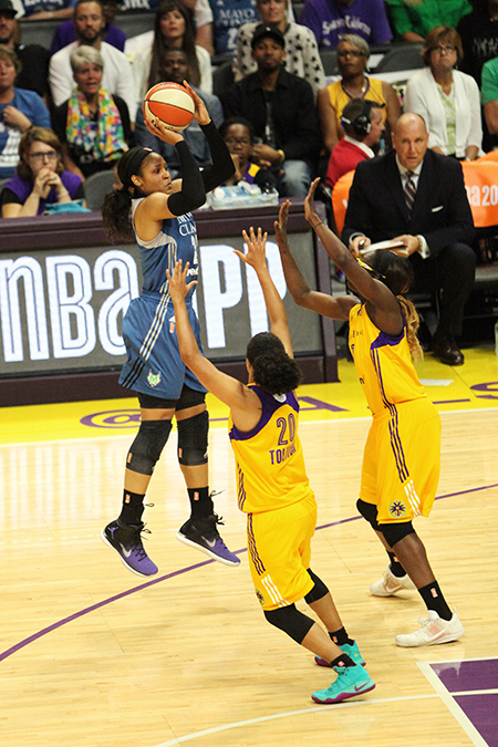 In game four, forward Maya Moore was the leading scorer with 31 points. (Jaye Johnson/ T.G. Sportstv1)