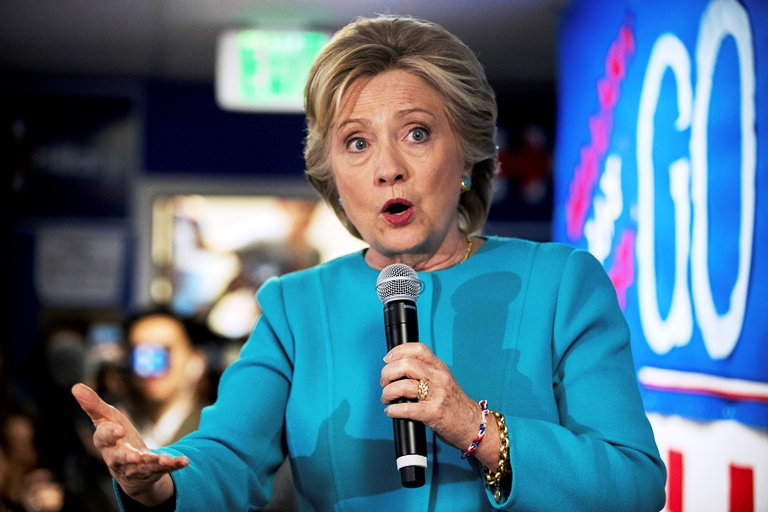 In this Oct. 14, 2016 file photo, Democratic presidential candidate Hillary Clinton speaks to volunteers at a campaign office in Seattle. Hillary Clinton has a tight grip on the Electoral College majority need to be elected president of the U.S., and may very well be on her way to a big victory, and that's how some Republicans see it. (AP Photo/Andrew Harnik, File)