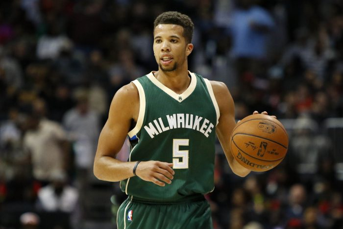 FILE - In this Feb. 20, 2016, file photo, Milwaukee Bucks guard Michael Carter-Williams (5) dribbles against the Atlanta Hawks in the second half of an NBA basketball game, in Atlanta. Point guard Michael Carter-Williams will have left hip surgery and miss the rest of the season for the Milwaukee Bucks. General manager John Hammond said Monday, March 7, 2016,  that Carter-Williams would have the procedure in Colorado on Thursday to repair a torn labrum.  (AP Photo/Brett Davis, File)