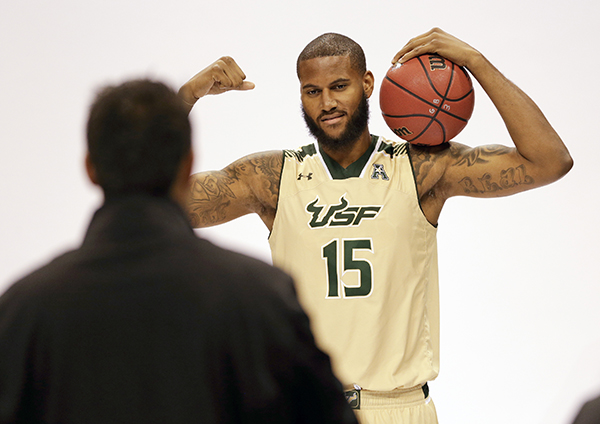 South Florida's Jaleel Cousins (15) poses for a photo during the American Athletic Conference NCAA college basketball media day, Tuesday, Oct. 27, 2015, in Orlando, Fla. (AP Photo/John Raoux)