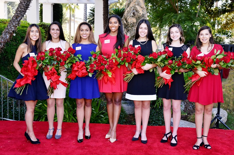 From left to right: Maya Kawaguchi Khan, Natalie Rose Petrosian, Autumn Marie Lundy, Shannon Tracy Larsuel, Lauren Emiko Powers, Audrey Mariam Cameron and Victoria Cecilia Castellanos.