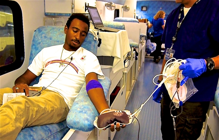 Blood donor at Sabriya's Castle Blood Drive Photo by E. Mesiyah McGinnis