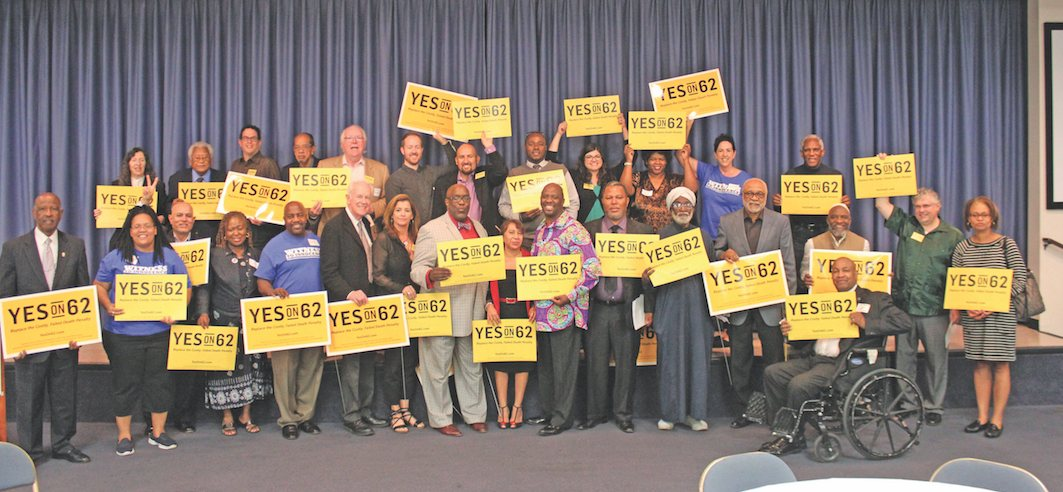 Rev. James Lawson, Rev. Kelvin Sauls and Rev. William Smart unite with the faith community in support of Prop 62.