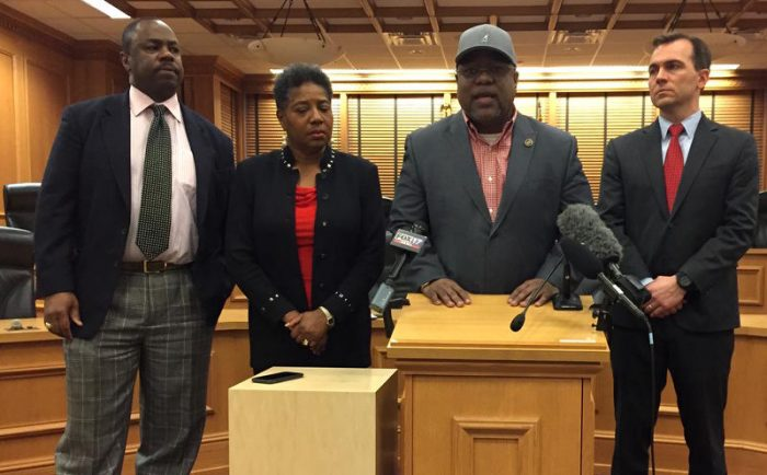Tennessee state Reps. Joe Towns, Brenda Gilmore, Antonio Parkinson and John Ray Clemmons (left to right) asked the state-run Achievement School District to delay expanding into more struggling schools. (TONY GONZALEZ / WPLN)