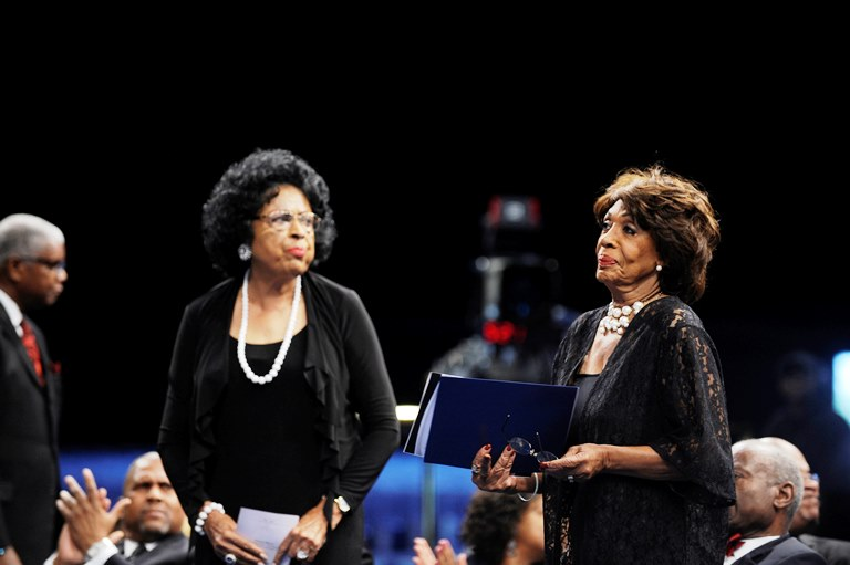 Retired Congresswoman Diane Watson, left and Congresswoman Maxine Waters (Photo by Valerie Goodloe)